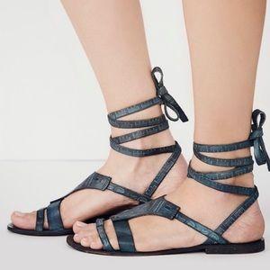 Free People Black Leather Lace Up Gladiator Sandal